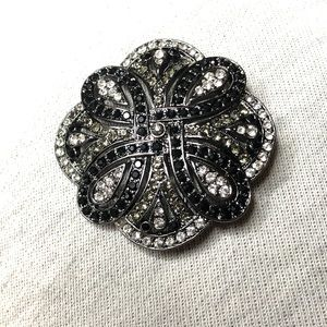 2/$20 Black stone and silver accent brooch